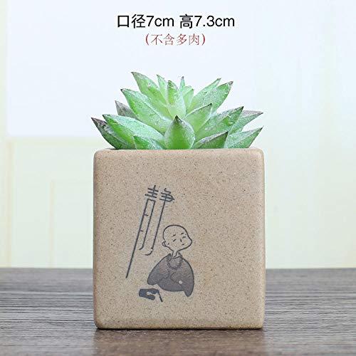 Keramische vierkante bloempot paars zand chinese stijl monnik bloempot eenvoudige trompet keramische desktop sappige groene dille pot Black square still