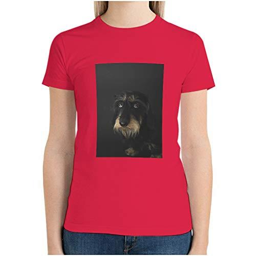 Frauen Baumwolle Australischer Terrier T-Shirts Lässig Sommer - Pet Dog Top red1 l