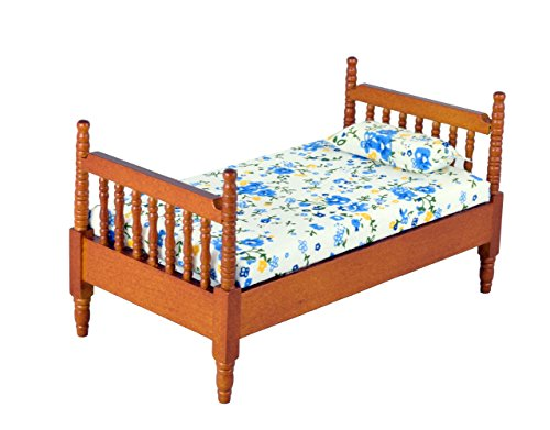 Inusitus Wooden Dollhouse Queen Bed | with Mattress & Pillow | Miniature Furniture | 1/12 Scale (Medium-Brown)
