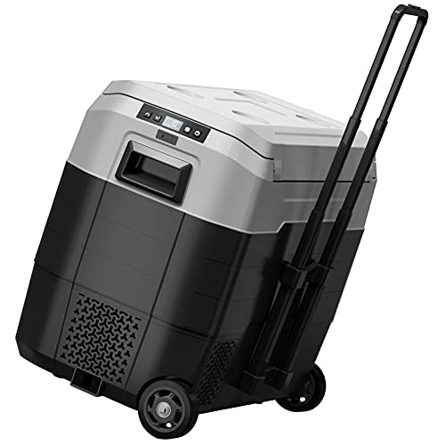 Portable Car Freezer with Wheels, 52 Quart Car Refrigerator with Telescopic Handle, -4°F~50°F 12V/24V RV Fridge Cooler Compact Compressor Fast Cooling,Indoor Outdoor Use for Car,Truck,Camping,Home