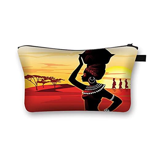 OMYLFQ Sac à cosmétiques, Femme Africaine Print Sac de cosmétique Afro Mesdames Sacs de Maquillage cosmétique Organiseur Artiste Portable Sac de Rangement (Color : 27)