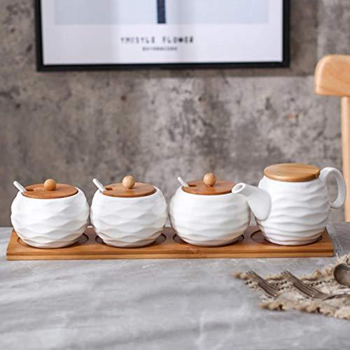 Keramische Kruiderij Opbergpot Huishoudelijke Kruiden Pot Bamboe Lade Kruidkruik Sojasaus Doos Zout Suiker Kan Kruiden Potjes Keuken Organizer Gereedschap, Vierdelige Set