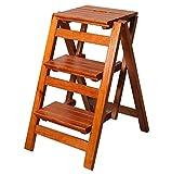 TTWUJIN Klappbare tragbare Leiter Tritthocker Treppenstuhl Sitze Hochstuhl Holzregal Trittleiter Klappbare 3-Stufen-Leiter Verbreiterte Sicherheit Faltbare Regale Haushaltsküche Innenaufstieg,D.
