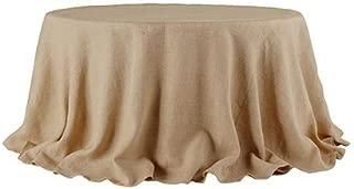 BROWARD LINENS Tablecloth Burlap Natural Round 90 Inch