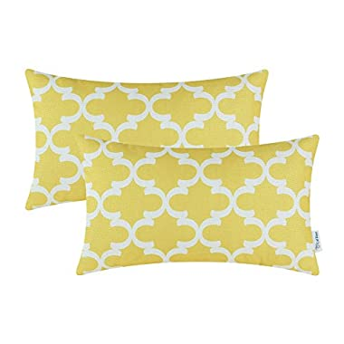 CaliTime Pack of 2 Bolster Pillow Covers Cases for Couch Sofa Home Decor, Modern Quatrefoil Accent Geometric, 12 X 20 Inches, Yellow