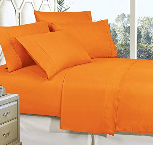 CELINE LINEN Best, Softest, Coziest Bed Sheets Ever! 1800 Thread Count Egyptian Quality Wrinkle-Resistant 4-Piece Sheet Set with Deep Pockets 100% Hypoallergenic, King Vibrant Orange