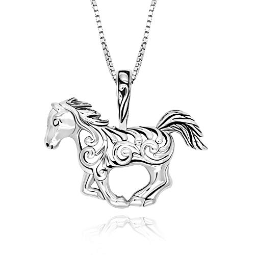 925 Sterling Silver Filigree Horse Pendant Necklace, 18'