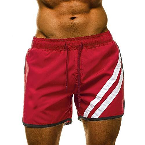 Xmiral Herren Sommer Badeshorts Streifen Schnelltrocknend Strandshorts Kordelzug Shorts Lose Elastizität Boxshorts(Rot,XXL)