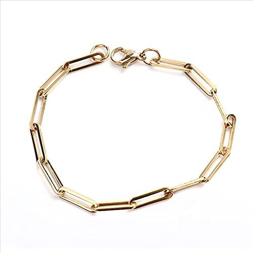 pulsera mujer 1pc 4mm Nuevo 304 Brazaletes de cadena de cables de acero inoxidable 304 for mujeres Hombres Oro Plata Color Oval Pulsera Joyas Regalo 19 cm de largo regalos originales para mujer