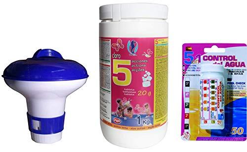 PQS Lote Cloro EN Pastillas 5 ACCIONES 20 Gramos DE 1 KG + Test Kit Tiritas 5 Funciones + CLORADOR Flotante PEQUEÑO