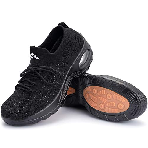 Mishansha Womens Sock Sneakers Walking Shoes Slip on Fashion Sneakers Mesh Lightweight Air Cushion Lady Comfortable Work Nursing Shoe Platform Dance Loafers Shiny Black