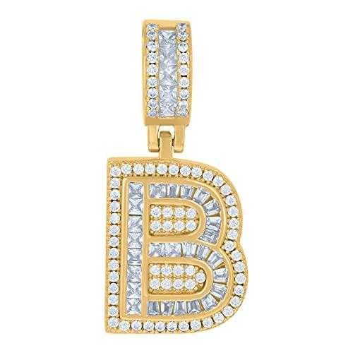Colgante de plata de ley 925 unisex redondo y baguette con circonita cúbica nombre personalizado monograma inicial del alfabeto B colgante collar con dijes de joyería para mujeres
