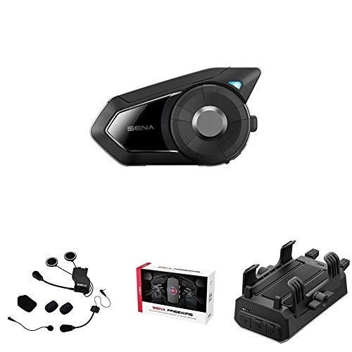 Sena 30k + Kit de Montaje Universal de Auriculares + Bluetooth CB y Adaptador de Audio + Sena Powerpro-01 Soporte para Manillar