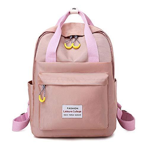 Wasserdichter pinker Laptop-Rucksack für Frauen und Männer, 38,1 - 39,6 cm (13 - 15,6 Zoll), Oxford-Stoff, Schwarz / Pink