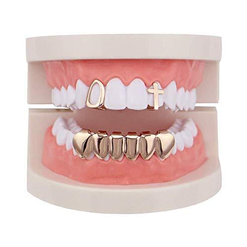 Tapas de dientes Chapadas en oro Hip Hop Bling Juego de dientes Tapas de dientes de parrilla superior e inferior huecas - Alto brillo para adultos Accesorios de fiesta de disfraces Parrillas de diente