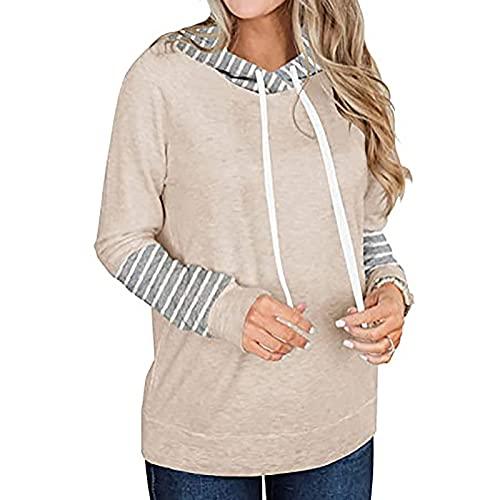 UEsent Sudadera de manga larga con capucha para mujer, con cordón, parte superior para mujer, jersey de rayas / suéter de dos colores, elegante y suelto, ropa de invierno, beige, L