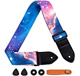 Aowdsye Guitar Strap, Includes Strap Button, 2 Picks and 2 Strap Locks, Leather Ends, for Electric Acoustic Guitar, Bass, Adjustable