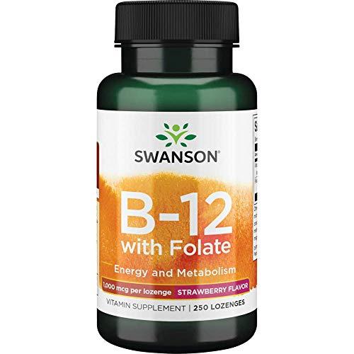 Vitamina B12 1000mcg Swanson 250 pastilhas Morango