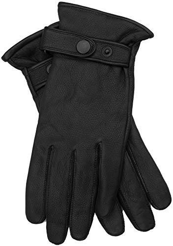 EEM Herren Leder Handschuhe PATRICK aus echtem Hirschleder mit Kaschmir-Woll Futter; schwarz, L