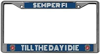 License Plate Frame Holder with Screws Caps Set Black Metal Semper Fi Till The Day I Die License Plate Frame Slim Design US Marine Quotes License Plate Frame