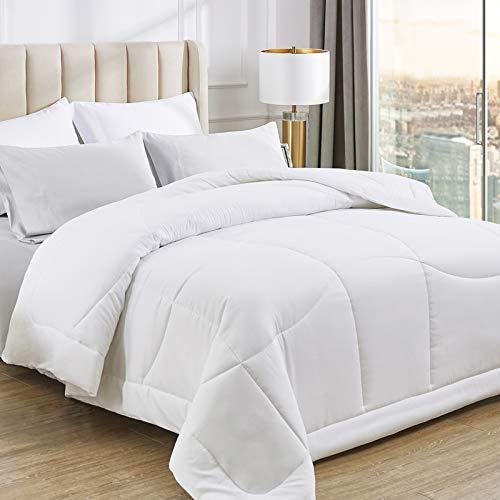 Bedsure All Season Down Alternative Duvet Insert Full/Queen Size - 300 GSM Lightweight Microfiber Hypoallergenic Comforter with Corner Tabs - Ergonomic Quilted White Duvet