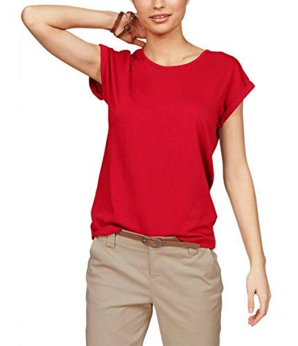 TrendiMax Damen T-Shirt Einfarbig Rundhals Kurzarm Sommer Shirt Locker Oberteile Basic Tops (Rot, M)