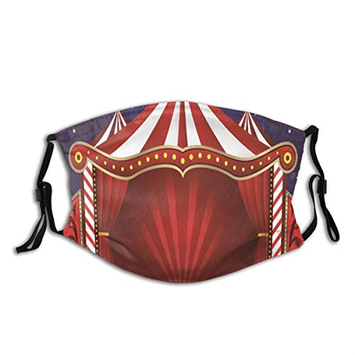Amknu Wiederverwendbare Unisex-Gesichtsbedeckung Zirkus Vorhänge Zelt Zirkus Leinwand Theater Performance Staubmundverstellbare Ohrschlaufen Filter