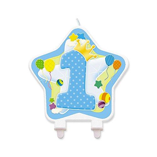 Big Party- Candela a Forma di Stella 1°Compleanno Azzurra, Colore, 73134