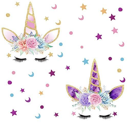 Bdecoll Pack of 2 Unicornio y Star Pegatinas de Pared Vinilos Decorativos para Habitación Infantiles Niños Dormitorio Salón