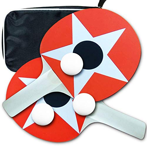 Best Buy! Ping Pong Paddle Set, 2 Table Tennis Rackets 3 Balls and Case, Soft Sponge Rubber Ping Pon...