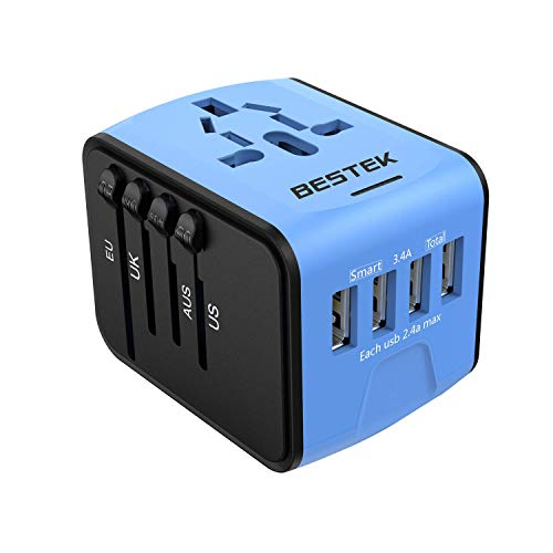 BESTEK Universal Travel Adapter Portable Power Plug Converter with 4 USB Charging Ports Worldwide All in One Wall AC Plug Adapter Charger Mini Travel Accessories, for UK/AU/US/EU 150+ Countries