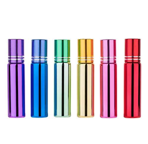 6 x 10 ml nachfüllbare Glasflasche für ätherisches Öl, Roll-On-Flasche mit Edelstahl-Rollerball und Metallkappe, Kosmetikbehälter, Fläschchen für Aromatherapie (bunt)