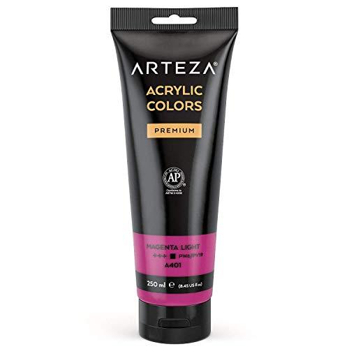 ARTEZA Acrylic Paint, Magenta Light Color 8.45 oz/250 ml Tube, Rich Pigment, Non Fading, Non Toxic, Single Color Paint for Artists, Hobby Painters & Kids