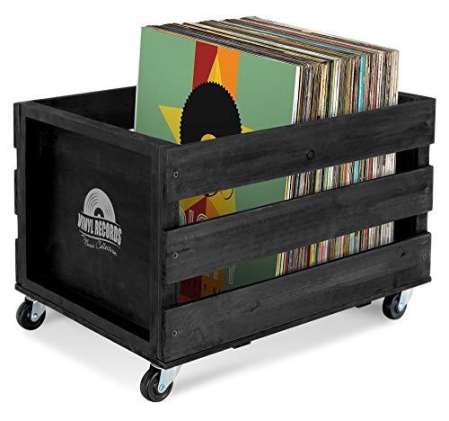 """Stagecaptain SPK-100 BK Schallplattenkiste """"Emil"""" - Aufbewahrungsbox für bis zu 100 LPs - aus Vollholz im Retro-Design - 4 lenkbare Rollen - auch für vieles andere bis 25 kg verwendbar - Schwarz"""