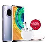 HUAWEI Mate30 Pro - Smartphone con Pantalla Curva de 6.53' (Kirin 990, 8 + 256 GB, Cuádruple cámara Leica, Batería de 4500 mAh), Color Space Silver + Freebuds 3 + Wireless Charger