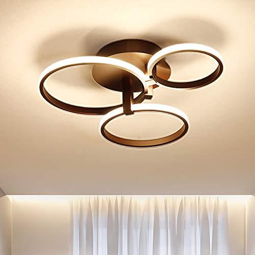 Dellemade LED Deckenleuchte 3 Ringe Wohnzimmerlampe Rechteckig Deckenlampe in modernem Design, Schwarz