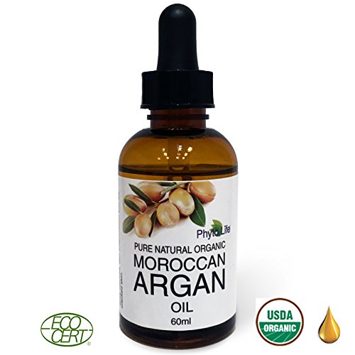 Moroccan Argan Oil 100% Pure USDA Certified Organic for Face, Hair, Skin & Nails, 60ml Anti-Aging, Anti-Wrinkle Beauty Secret, EcoCert Certified Cold Pressed Skin Moisturizer
