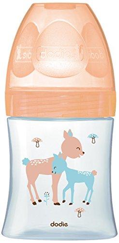 Dodie 6008146 Flasche Initiation+ GLAS 150 ml 0-6 Monate flacher Sauger Flussrate 1, beige
