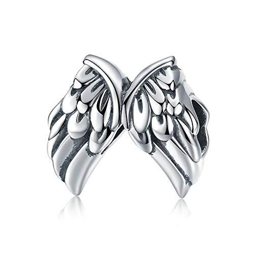 Angel Wings Authentieke 925 Sterling Zilver Vintage Engel Vleugels Veren Kralen Bedels passen Vrouwen Armbanden Bangles Sieraden