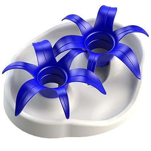 Aïkiou mince Kat Interactive Gamelle pour chat Slow Feed Fleur puzzle, Blanc/bleu