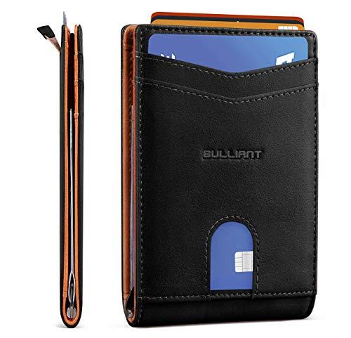 "Slim Wallet Front Pocket,BULLIANT Money Clip Minimal Bifold Wallet For Men 10 Cards 3.1""x4.5"", Pull-tap Access,RFID Blocking"