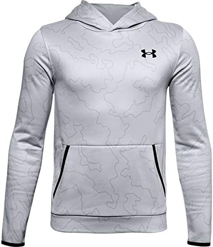 Under Armour Boys Armour Fleece Printed Hoodie Mod Gray 011 Black Youth Large product image
