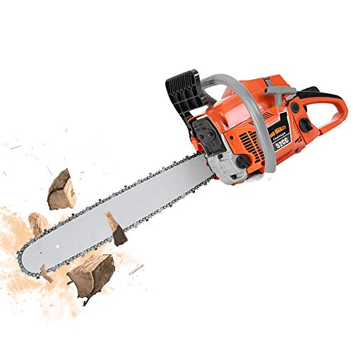 XIHUANNI 52CC 2-Cycle Gas Powered Chainsaw, 20-Inch Gas Chainsaw Handheld Cordless, Petrol Gasoline Chain Saw Wood Cutting for Farm, Garden and Ranch w/Tool Kit (C 52CC Orange)