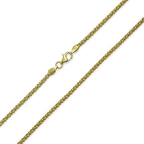 Bali Style Popcorn Coreana Chain Necklace Black Oxidized 14K Gold Plated Sterling Silver 030 Gauge Made In Italy 16 Inch