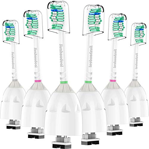 Jiuzhoudeal Replacement Brush Heads Compatible with Phillips Sonicare E-Series Toothbrush HX7022/66, Essence, Xtreme, Elite, Advance and CleanCare Electric Handles, 6 Pack
