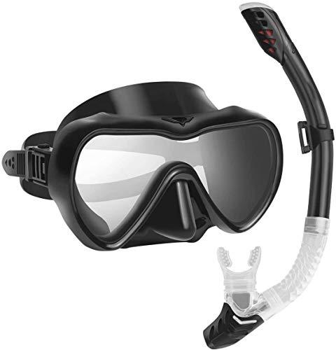 Gesh Juego de esnórquel antivaho con tubo de esnórquel antifugas totalmente seco para mujeres hombres natación y buceo