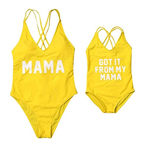 Mommy and Me Swimsuits Family Matching Letter Print One Piece Bikini Bathing Suit Yellow Mom XL