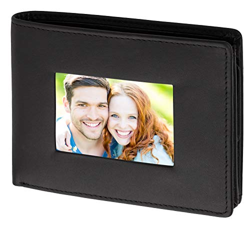 Cadenis Herren Leder Geldbörse mit großem Fotofach auf der Frontseite aus Glattleder schwarz Querformat 12,5 x 9,5 cm