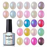 24PCS Pearl Nail Polish Set Mermaid Gel Manicure Salon Decor Nail Art Elegant Shell Shiny Under Light UV LED Soak Off Set FairyGlo 10ml