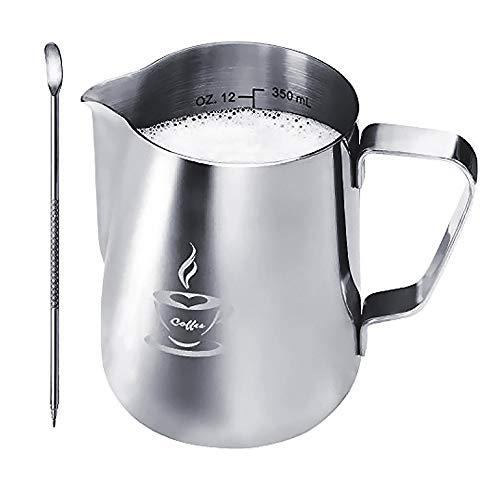 ONEHOUS Milchkännchen Edelstahl 350ml, Milk Jug, Milchaufschäumer Perfekte Größe für 2 Cappuccino Tassen, Barista Stift für Latte Art, Einfach zu Reinigen, Silber